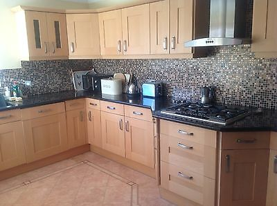 Used Magnet Beech Kitchen Units, Gas Hob and Hood