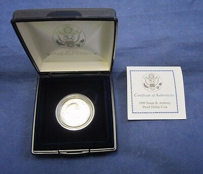 1999 United States Mint Susan B. Anthony Proof Dollar With Coa