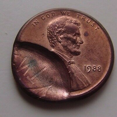 1988 Lincoln Cent Double Struck Off Center 1C Penny Error