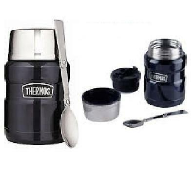 THERMOS STAINLESS STEEL KING - blue - HOT FOOD SOUP FLASK 0.47 LITRE Free Post