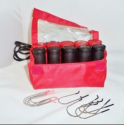 Remington H-1015 10 2 Sizes Travel Hot Hair Curlers Rollers Pageant W/ Clips
