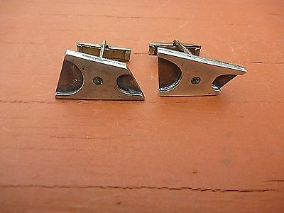 Vintage Mid Century Modern Abstract Mexico A. Munoz Taxco Sterling Cuff Links