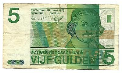 5 Gulden Netherlands note, ND(1973), F-F+, very low price