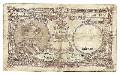 20 francs Belgium note, ND(1944), WWII, F+, low price