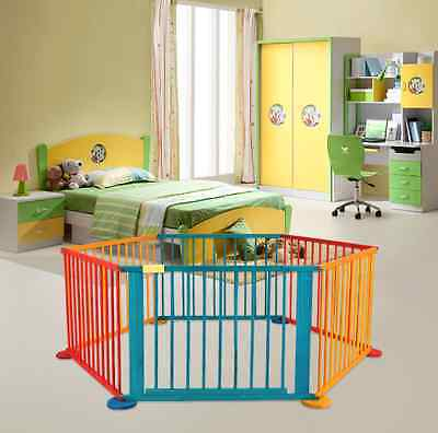 Baby Wooden Playpen Colourful Play Pen Room Divider Kids Child Portable Playard
