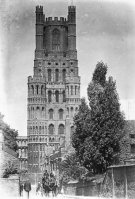 PHOTOGRAPHIC GLASS NEGATIVE ELY CATHEDRAL CAMBRIDGSHIRE c1910