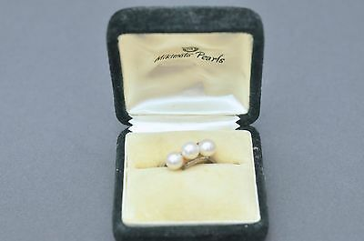 Vintage 1950s Mikimoto Sterling Three 3 Pearl Cluster Ring Size 7.5 Original Box
