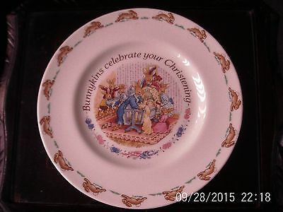 Royal Doulton vintage Bunnykins Christening Plate 1993 with message on back