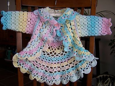 Othc*adorable Hand Crocheted Baby Sweater*9-18 Months*grannys Girl Pattern*