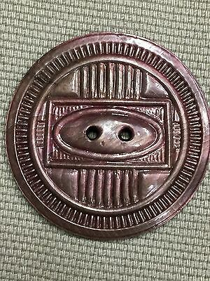 "Vintage Celluloid Overlay 2 Hole Button 1.5""W Deco Design Copper Tone Shiny!"