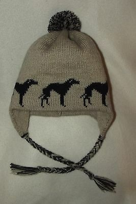 GREYHOUND / WHIPPET dog  knitted lined BEIGE ADULT SIZE TRAPPER EAR FLAP HAT