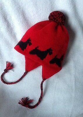 SCOTTISH TERRIER dog knitted lined RED  ADULT SIZE  TRAPPER EAR FLAP HAT