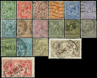 GB/UK/Great-Britain KGV  lot 17 timbres/stamps 1912-1922  Oblitéré/Used