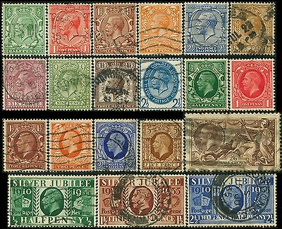 GB/UK/Great-Britain KGV  lot 20 timbres/stamps 1924-1935 Oblitéré/Used