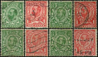 "GB/UK/Great-Britain KGV""Downey Heads"" lot 8 timbres/stamps 1911-1912  Oblit/Used"