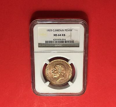 Great Britain -Uncirculated 1929 Penny Certified By Ngc Ms64 Red Brown .