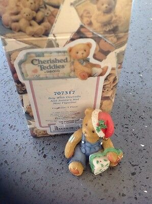 Cherished Teddies Boy With Overalls And Santa Hat Figurine