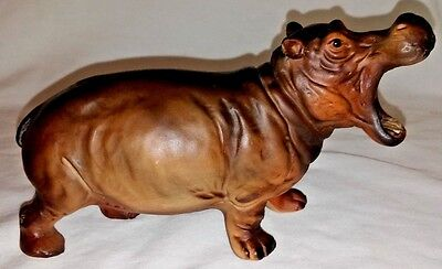 Vintage Made In Japan Hippopotamus  Brown Mouth Open