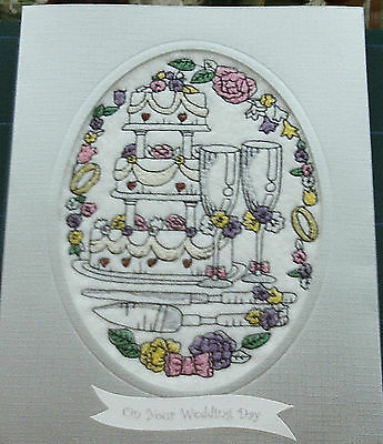 complete embroidered Wedding Day Card 'Lovely Wedding Cake'...ex large card