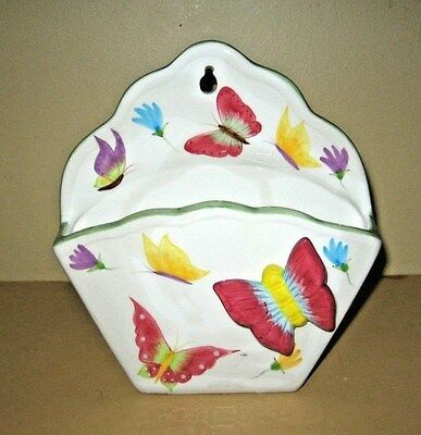 Vintage Ceramic Butterfly And Flower Wall Pocket Vase