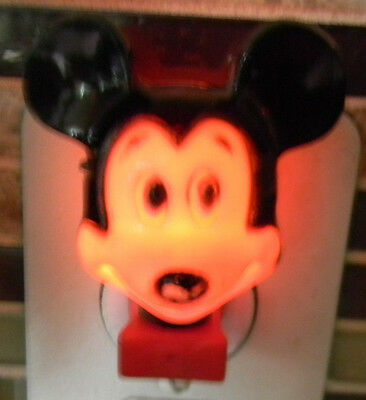 "Vintage Mickey Mouse Night Light Hard Plastic Works Disney 2.5"" Tall Disneyana"