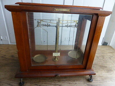 Antique brass scales in mahogany and glass case - Becker & Co