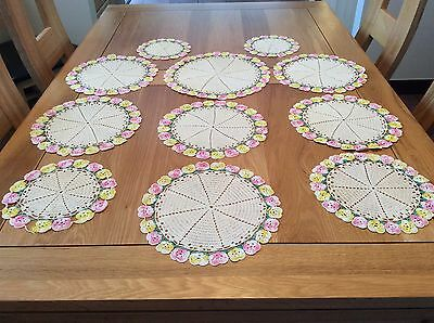 Vintage Crochet  Lace Doilies In Beige And Floral. Excellent Condition