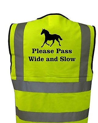 Adults Hi-Viz Printed Horses Please Pass Wide And Slow Safety Wear For Riding 2