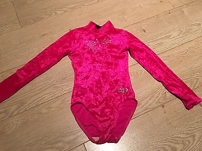Zone Girls Crushed Velvet Pink Leotard Size 28 (7-8 Years)