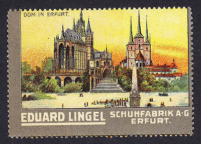 German poster stamp cinderella Shoe Factory Erfurt Cathedral Religious building