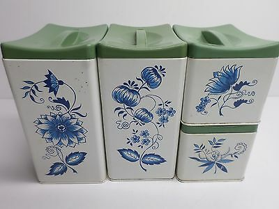 "Vintage ""RANSBURG "" METAL KITCHEN CANNISTERS - SET of (4) - BEAUTIFUL!"