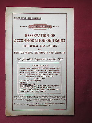 British Railways booklet Reservations of accommodation Torbay Area 1957