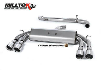 VW Golf MK7 R MILLTEK Race Non Valved Non Res Cat Back Exhaust Polished GT100