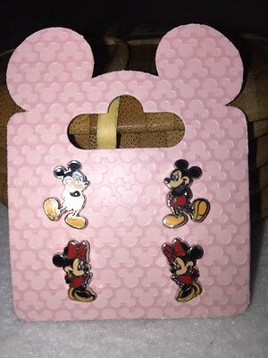 Disney Parks Mickey And Minnie Mouse Post Earrings 2 Pairs NEW