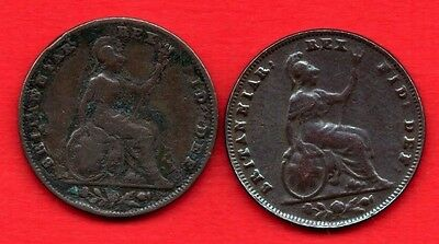 1836 & 1837 COPPER FARTHING COIN OF KING WILLIAM IV. BRITANNIA REVERSE. 2 X 1/4d