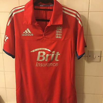 Adidas England Cricket Top, Polo Shirt, Size M, 40/42. Red Brit Insurance. BNWOT