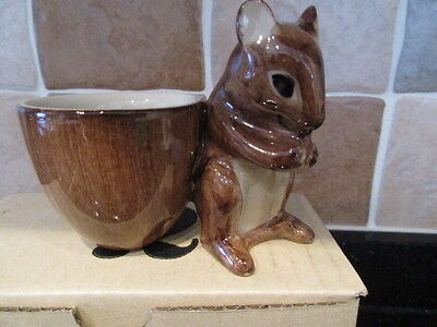 Lovely Quail Pottery Mouse Figure With Egg Cup  Boxed New