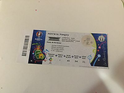 Ticket Austria - Hungary Uefa Euro France 2016 Match N. 11 Unfolded