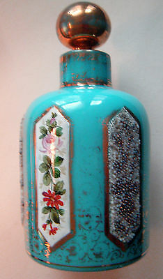 Antique Blue Opaline Scent Bottle Hand Painted W/ Glass Bead Applique French or