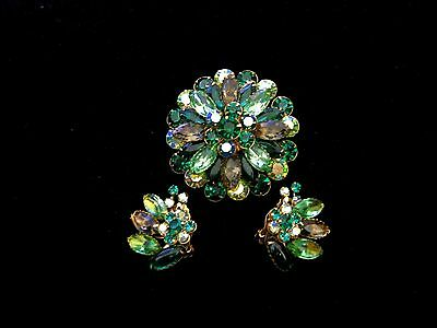 Beautiful Vintage Green and Taupe Rhinestone Brooch and Earring Set