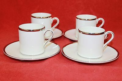 Wedgwood ~ Sterling Design ~ Espresso Cups & Saucers X 4 ~ First Quality.