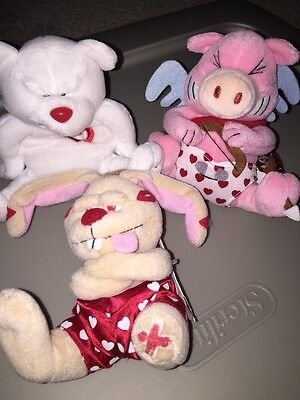 Lot Of 3 MEANIES Valentines stuffed animal plush Beanies Cupig Heartless Lucky