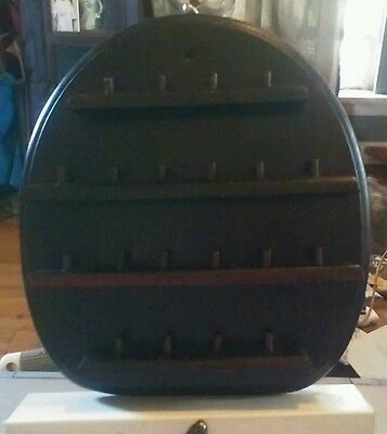 Vintage Oval Wooden Thimble Display Holder Good condition Holds 20 Thimbles
