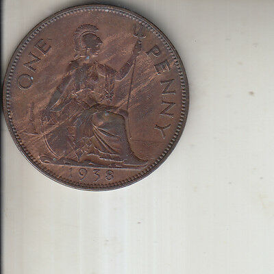 GEORGE  VI 1938 ONE  PENNY  1d COIN LUSTRED NEAR UNC