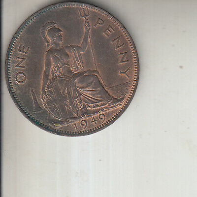 GEORGE  VI 1949 ONE  PENNY  1d COIN LUSTRED UNC