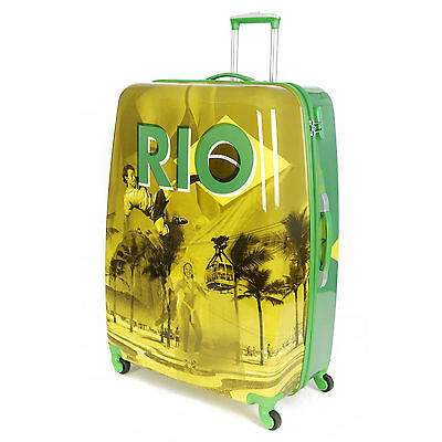 "Rio Brazil Extra Large 32"" Hard Shell 4 Wheel Hold Check In Luggage Suitcase"