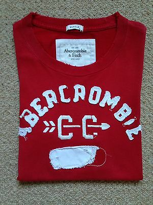 ABERCROMBIE & FITCH Mens Red & White Graphic T-Shirt Top, Size S, Muscle Fit