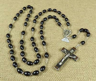 """Vintage ITALIAN EBONY ROSARY - """"DOUBLE WIRED, INDECROCHABLE, ITALY"""""""