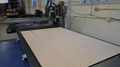 """Multicam Model 3-204-R 5 x 10 Flat Table CNC Router, 12"""" Z-Axis, (2) 4HP Spindle"""