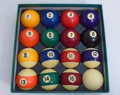 """Pool Table Billiard Ball Set Size 2 1/4"""" And Weight 6 oz"""